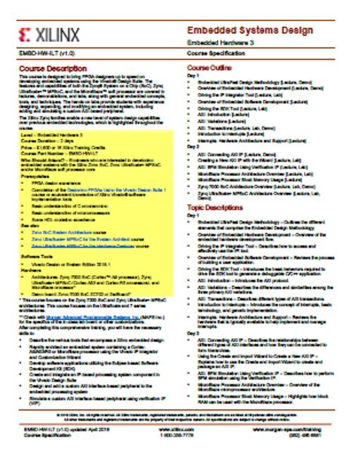 Please see https://morgan-aps.com/trainingpdf/EMBD-HW.pdf for a complete course description.
