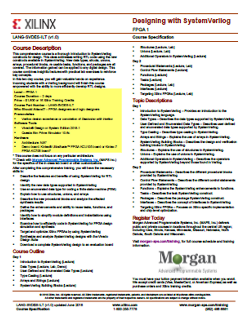 Please see https://morgan-aps.com/trainingpdf/LANG-SVDES.pdf for a complete course description.