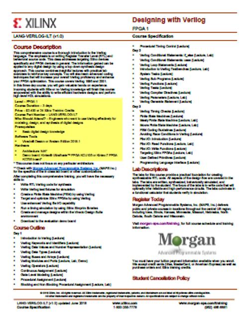 Please see https://morgan-aps.com/trainingpdf/LANG-VERILOG.pdf for a complete course description.