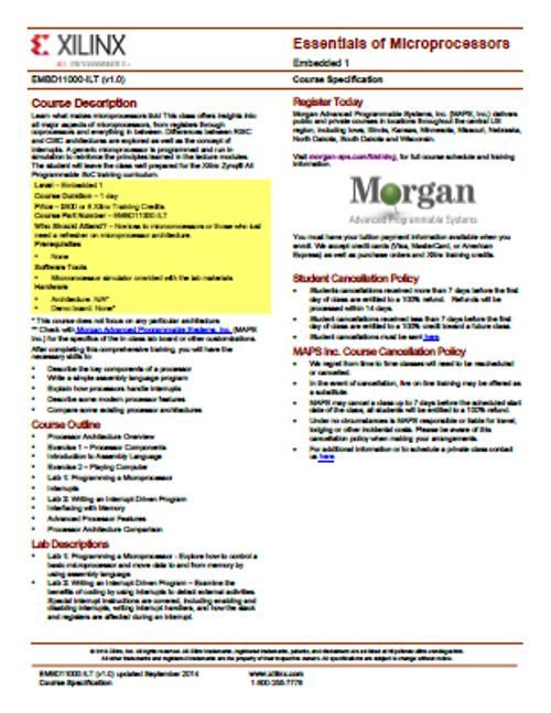 Please see https://morgan-aps.com/trainingpdf/EMBD-uPS.pdf for a complete course description.