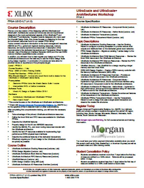 Please see https://morgan-aps.com/trainingpdf/FPGA-US1D.pdf for a complete course description.