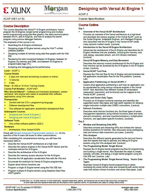 Please see https://morgan-aps.com/trainingpdf/ACAP-AIE1.pdf for a complete course description