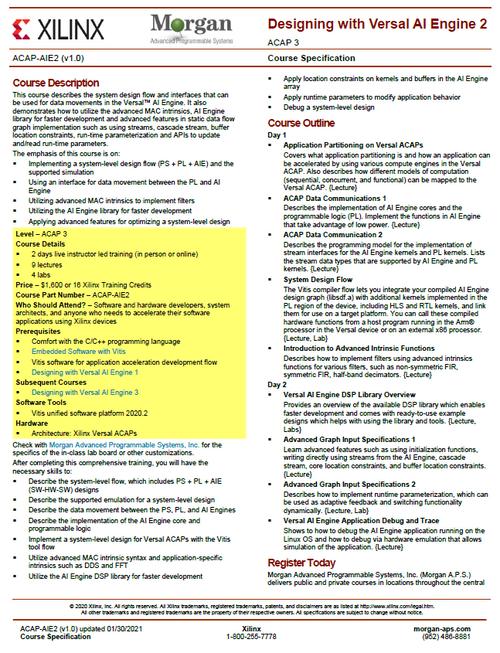 Please see https://morgan-aps.com/trainingpdf/ACAP-AIE2.pdf for a complete course description.