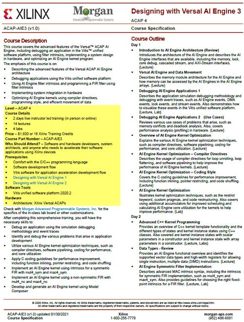 Please see https://morgan-aps.com/trainingpdf/ACAP-AIE3.pdf for a complete course description.