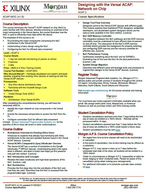Please see https://morgan-aps.com/trainingpdf/ACAP-NOC.pdf for a complete course description.