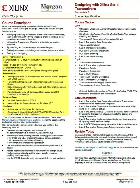Please see https://morgan-aps.com/trainingpdf/CONN-TRX.pdf for a complete course description.