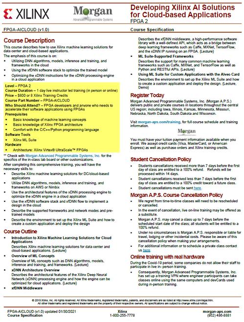 Please see https://morgan-aps.com/trainingpdf/FPGA-AICLOUD.pdf for a complete course description.