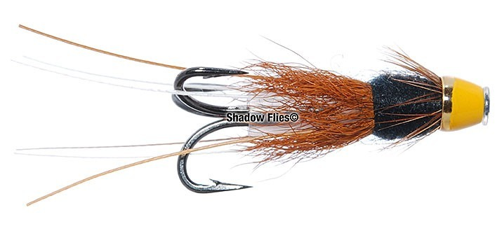 3 FRANCES BLACK DOUBLE CONED SALMON FLIES ON 12mmPLASTIC TUBE AND 8 DOUBLE HOOKS