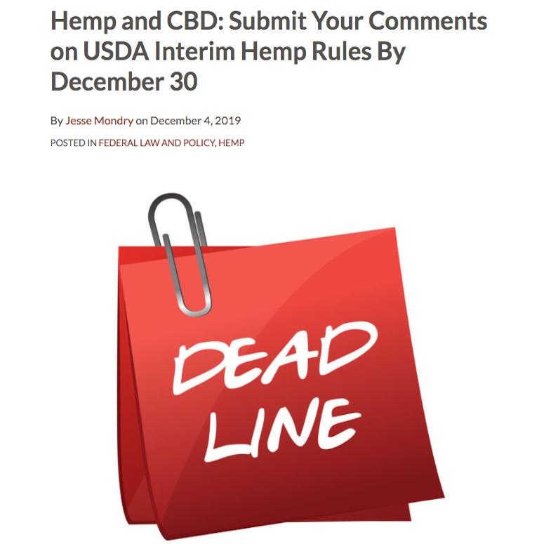 Submit Your Comments on USDA Interim Hemp Rules By December 30!