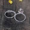 2pcs 12x8mm Tear Droped Peach Morganite Engagement Ring Diamond White Gold Wedding Set