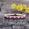 Ruby And Diamond Wedding Ring 14K White Gold Anniversary Ring Half Eternity Micro Pave Stackable Milgrain  Band
