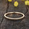 Round Black Diamond Wedding Ring 14K 18K Yellow gold Half Eternity Micro Pave Stacking Matching Band