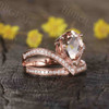 Unique pear shaped morganite engagement ring 0