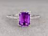 Natural 6x8mm Emerald Cut Amethyst Engagement Ring Diamond Wedding Ring 14k White Gold Halo Prong Set