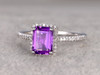 Natural 6x8mm Emerald Cut Amethyst Engagement Ring Diamond Wedding Ring 14k White Gold Halo Prong Set