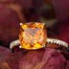 cushion cut 1.65ct citrine ring