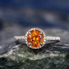 Yellow Citrine engagement ring-Solid 14k Yellow gold 012