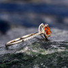 Yellow Citrine engagement ring-Solid 14k Yellow gold 014
