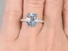 11x9mm Oval Aquamarine Engagement Ring Diamond Wedding Ring 14k Rose Gold Blue Gemstone Claws Prong Antique Design