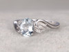 6x8mm Oval Aquamarine Engagement Ring Diamond Wedding Ring 14k White Gold Blue Gemstone Curved Unique Antique Design