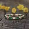 Emerald wedding ring-Solid 14k rose gold-Read Diamond with LAB Emerald-Baguette Cut-gemstone birthstone promise ring-Gift for her-Full Eter