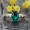 Green Emerald engagement ring-Solid 14k Rose gold-handmade diamond ring-Marquise Oval cut gemstone promise ring-Lab emerald,Promise ring