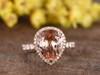 3 carat pear shaped morganite engagement ring 14k rose gold diamond halo with moissanite wedding band stacking teardrop style