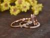 2.5 Carat Morganite Bridal Set 14k Rose Gold Diamond Princess Engagement Ring Princess Halo Stacking Matching Band