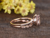 1.8 Carat Morganite Rose Gold Wedding Set Diamond Engagement Ring Halo 6-Prongs Art Deco Stacking Matching Band