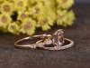 Princess Cut Morganite Rose Gold Wedding Set