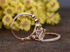 1.2 Carat Princess Cut Morganite Rose Gold Wedding Set Diamond Art Deco Milgrain Stacking Matching Band Bridal Ring