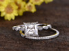 2 Carat Princess Cut Moissanite Engagement Ring Set Diamond Wedding Band 14k White Gold Art Deco Half Eternity