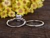 2 Carat Princess Cut Moissanite Engagement Ring Set Diamond Wedding Band 14k White Gold Art Deco Half Eternity