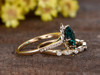 1.4 Carat Cushion Emerald Wedding Set Diamond Bridal Ring 14k Yellow Gold Retro Vintage Eternity Band