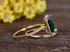 2.6 Carat Emerald Cut Emerald Wedding Set Diamond Bridal Ring 14k Rose Gold Curved Thin Eternity Band