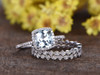 1.4 Carat Cushion Cut Aquamarine Wedding Set Diamond Bridal Ring 14k White Gold Art Deco Full Eternity Matching Band