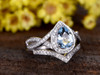 1.2 Carat Teardrop Aquamarine Bridal Set Diamond Wedding Ring 14k White Gold Split Shank Infinity Matching Band