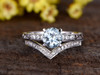 1 Carat Round Aquamarine Bridal Set Diamond Wedding Ring Filigree 14k White Gold Curve V Matching Band