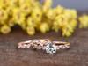 0.5 Carat Round Aquamarine Bridal Set Diamond Wedding Ring 14k Rose Gold Art Deco Curve Matching Band