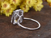 5 Carat Large White Topaz Engagement Ring With Diamond 14k White Gold Cushion Halo Stacking Band