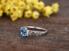 5x7mm Oval Sky Blue Topaz Engagement Ring With Diamond 14k White Gold Hollow filigree design