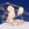 Pearl Engagement Ring Rose Gold Promise Antique Cluster Women Retro Art Deco Diamond Wedding White Akoya Jewelry Unique Anniversary Gift