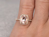 Oval Morganite Engagement Ring Cushion Halo