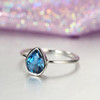 London Blue Topaz engagement ring white gold Wedding Women Bridal Jewelry Simple Pear Shaped Cut Stacking Tear Drop Promise Anniversary gift
