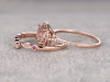 1.8 Carat Round Morganite Wedding Set Diamond Bridal Ring 14k Rose Gold Ruby Art Deco Curved Matching Band
