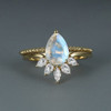 Vintage Pear shaped Moonstone Engagement ring Women Curved Moissanite Wedding Band -HR033