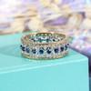 Antique Sapphire Wedding Band Eternity Lace Filigree Ring Vintage Art Deco diamond Women Yellow gold Anniversary Gift Unique Bridal set