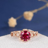 Antique Rose Gold Engagement Ring Lab Ruby Wedding Bridal Infinity Diamond Flower Art Deco Birthstone Unique Women Anniversary Promise Gift