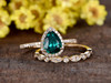 emerald wedding set yellow gold