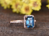 1.4ct Emerald Cut London Blue Topaz Engagement Ring With Diamond 14k Rose Gold Halo Stacking Band